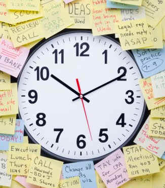 clock with post-it;s